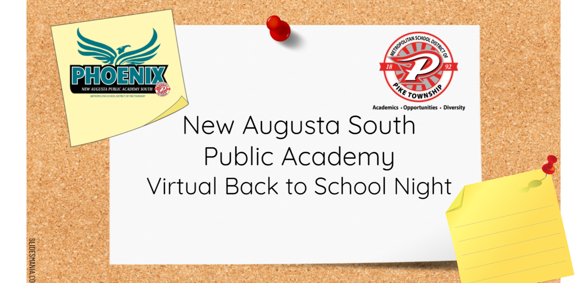 Image of post it board with the text: New Augusta South Public Academy Virtual Back to school Night; image of New Augusta South Pheonix and Pike logo