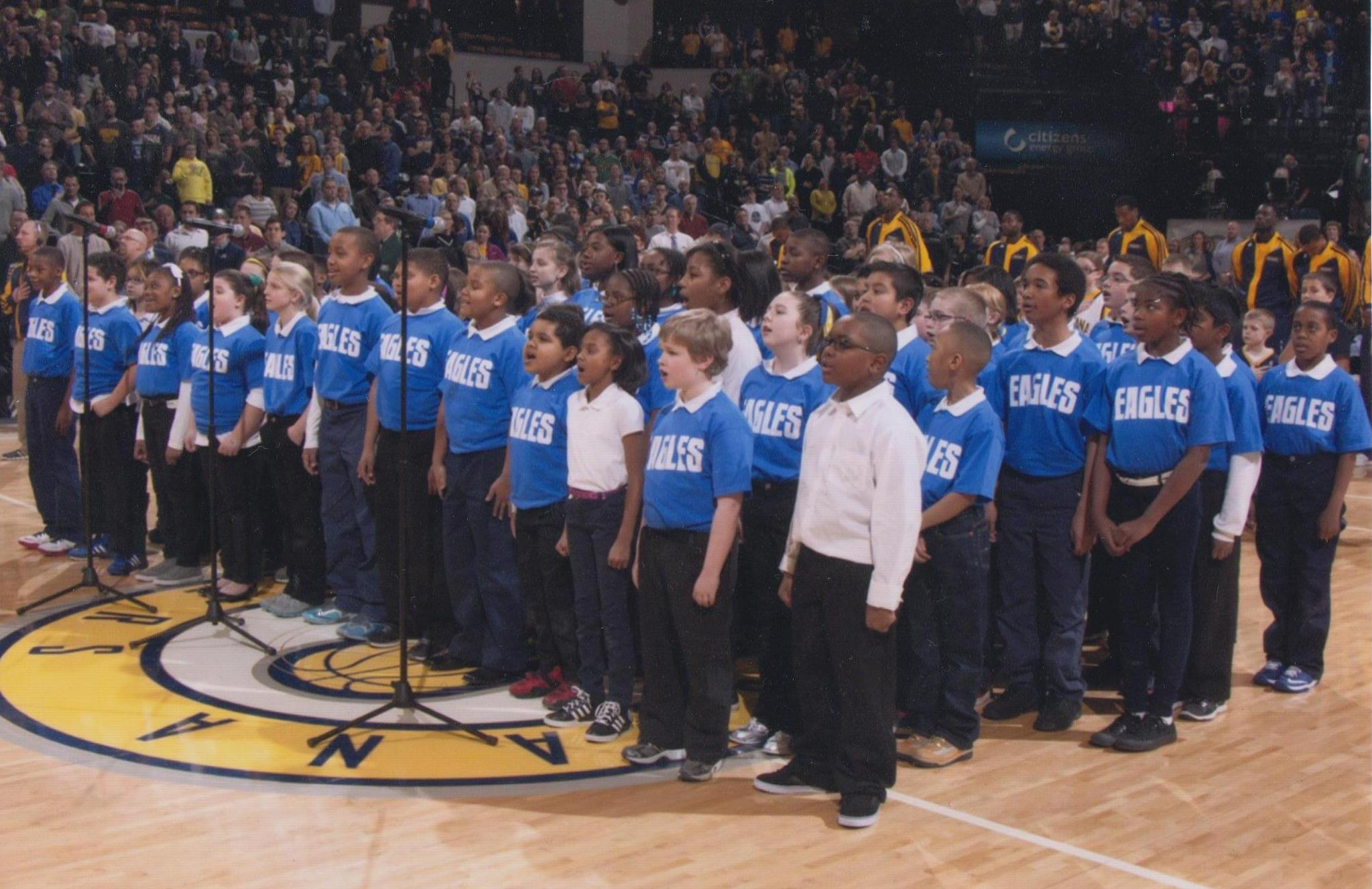 Singing Eagles performing for the Pacers