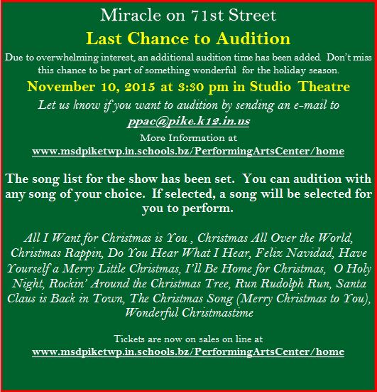 Last Chance to Audition!