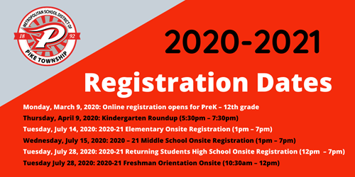 2020-2021 Registration Dates